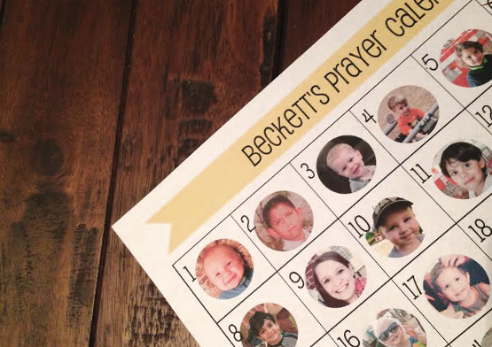 toddler prayer calendar